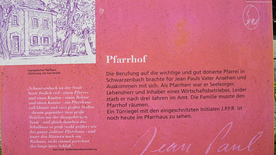 "Schwarzenbacher Jean-Paul-Rundweg, Stationstafel 2 ""Pfarrhof"""