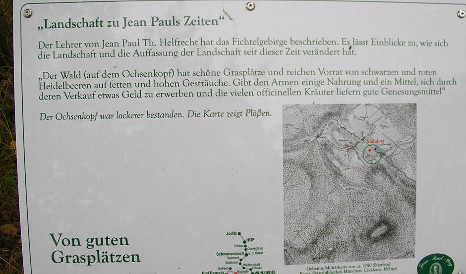 """Auf dem Jean-Paul-Weg, 13. Tafel """"Landschaft zu Jean Pauls Zeiten"""" - Von guten Grasplätzen"""