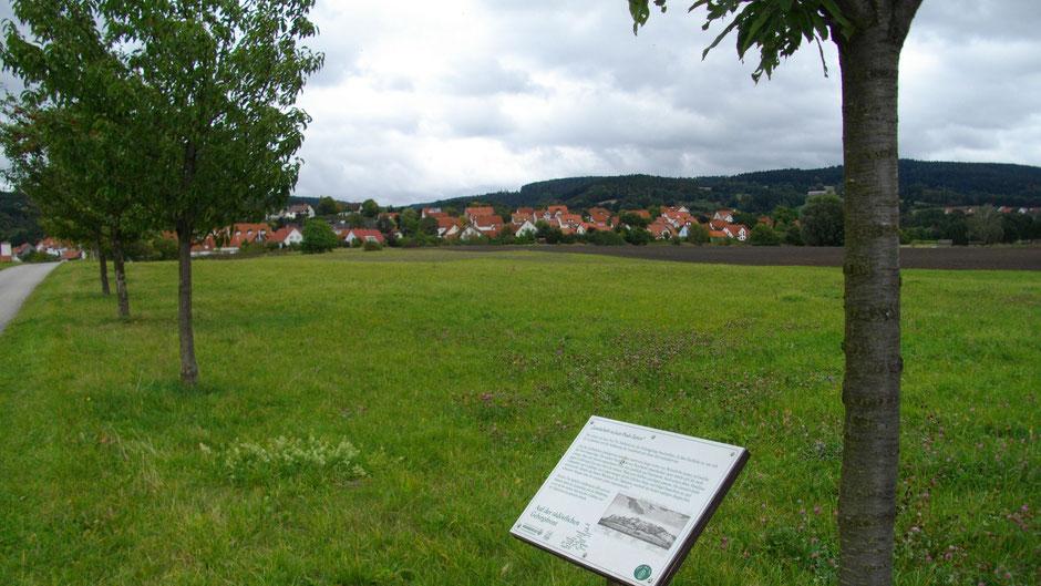 """Auf dem Jean-Paul-Weg, 18. Tafel """"Landschaft zu Jean Pauls Zeiten"""" mit dem Titel """"Auf der südöstlichen Gebirgsfront"""", Blick auf Goldkronach"""
