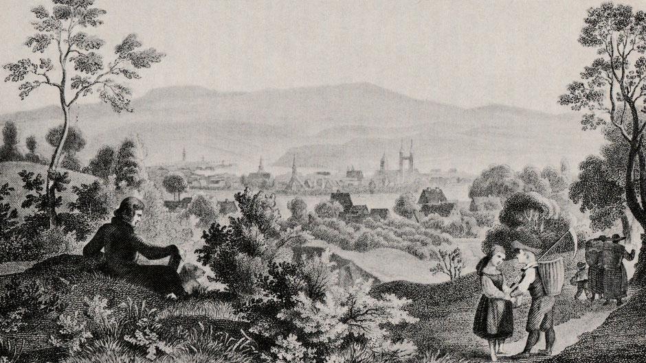 """Bayreuth um 1830, von Ludwig Richter, Foto aus Philipp Hausser """"Jean Paul und Bayreuth"""""""