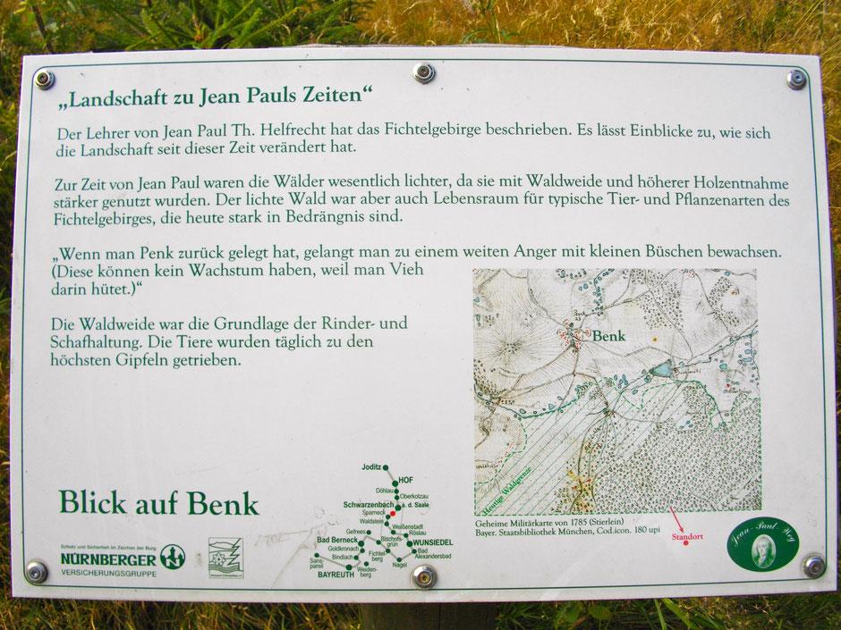 "Auf dem Jean-Paul-Weg, 1. Tafel Landschaft zu Jean Pauls Zeiten ""Blick auf Benk"""