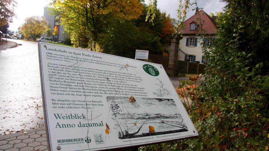 Im Schlosspark Meyernberg Landschaftstafel 20 »Weitblick Anno Dazumal«