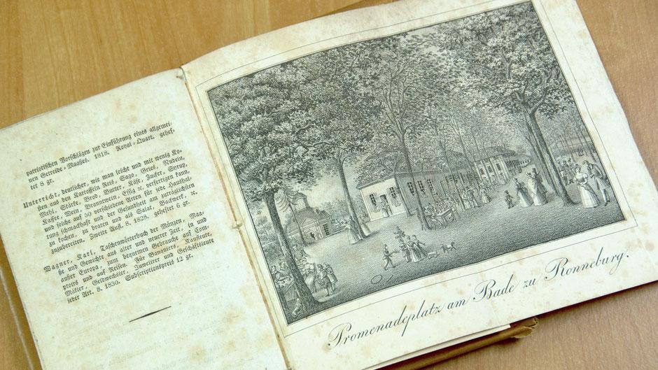 Lithographie aus dem Buch »Beschreibung der Heilquellen zu Ronneburg und seiner romantischen Umgebung« von Johann Heinrich Königsdörfer 1834
