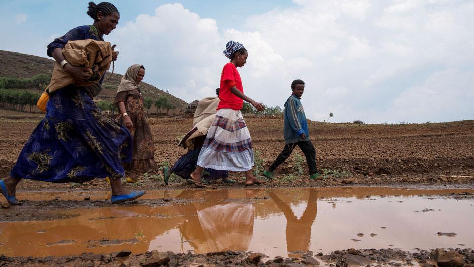 Vier Frauen und ein Junge laufen über ein Feld