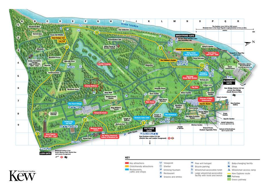 Plan des jardins botaniques royaux de Kew - Image prise sur le site de Kew Gardens
