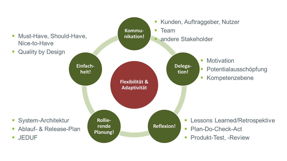 Abbildung 1: Die Kernprinzipien und das zentrale Paradigma der Agilität