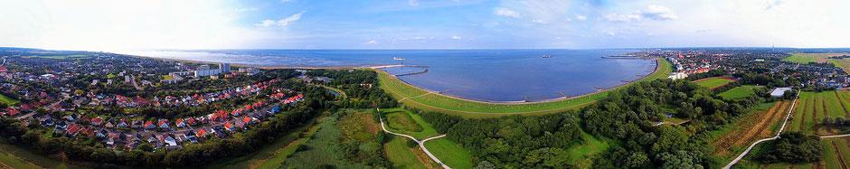 Luftbild der Grimmershörnbucht in Cuxhaven