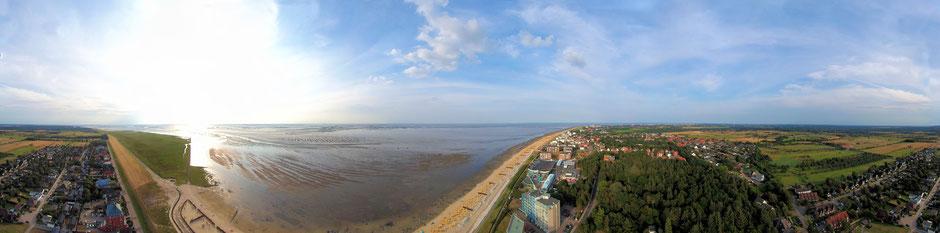 Luftbild über Cuxhaven Duhnen mit Blick von Döse bis Sahlenburg