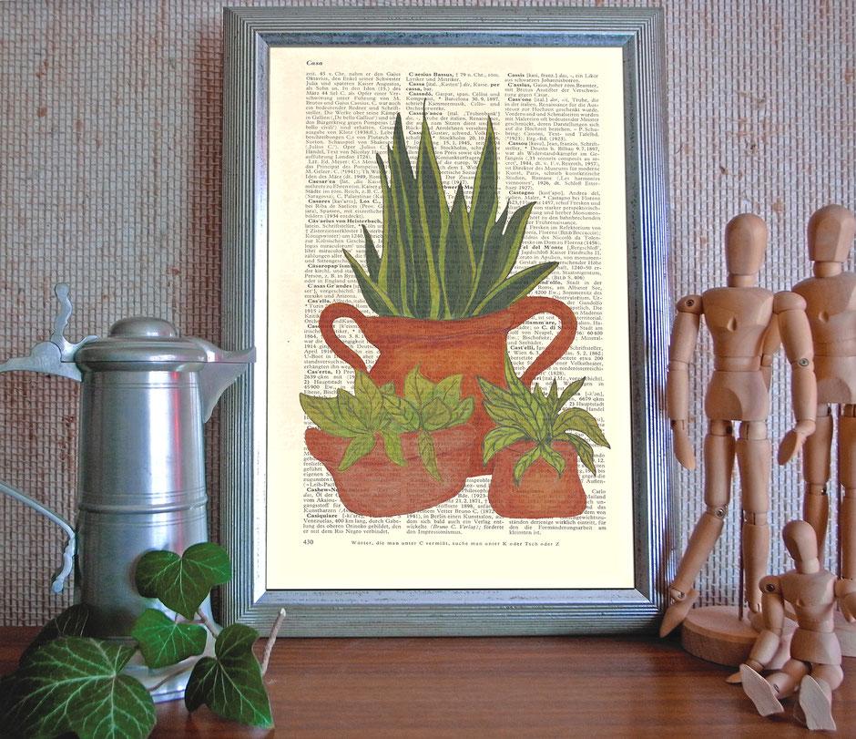 Kunstdruck, Vintage-Lexikonseite, Illustration,  Zeichnung, Ulrike Spang, Ulli Verlag, Zimmerpflanzen, Farbstift