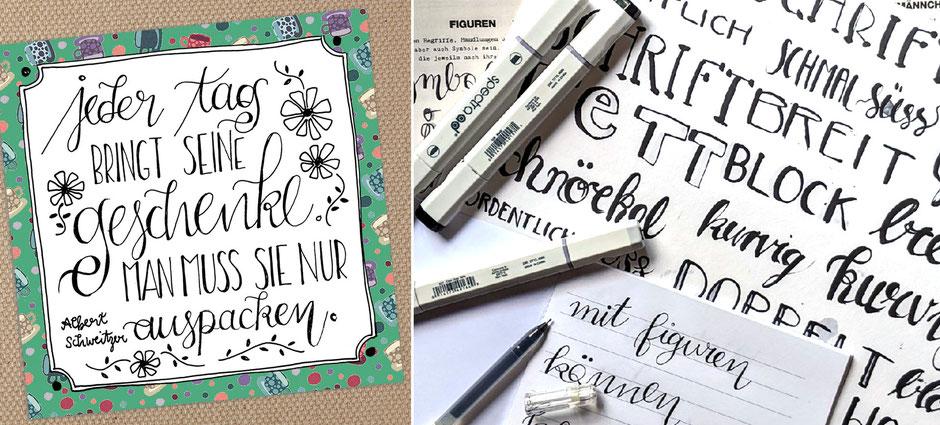 Mit Handlettering können Zitate, Sprüche und Gedichte wunderschön gestaltet werden. Verschiedene Pinsel, Stifte und die Kombination von Schriftarten lässt kleine Illustrationen aus Text entstehen. Übung macht den Meister!