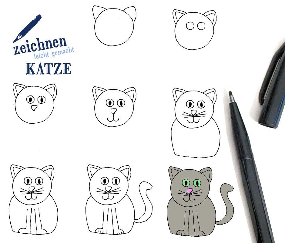 Katze einfach malen kinder