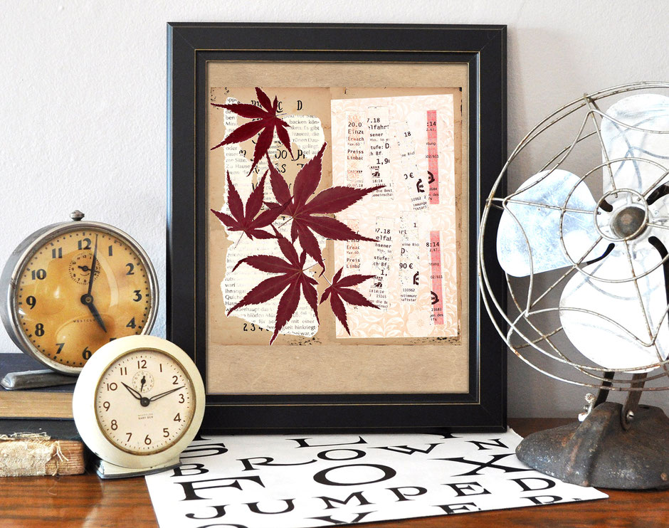 Kunstdruck, Collage, Ahornblatt, Fahrscheine, Ulrike Spang, Ulli Verlag