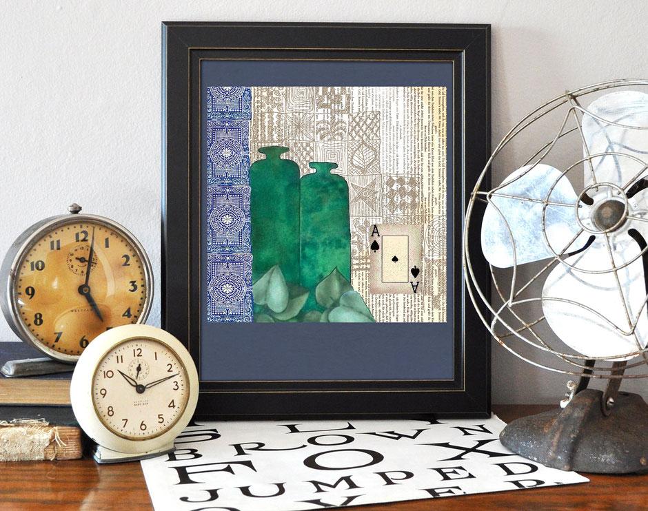 Kunstdruck, Collage, Aquarell, Pik as, Ulrike Spang, Ulli Verlag
