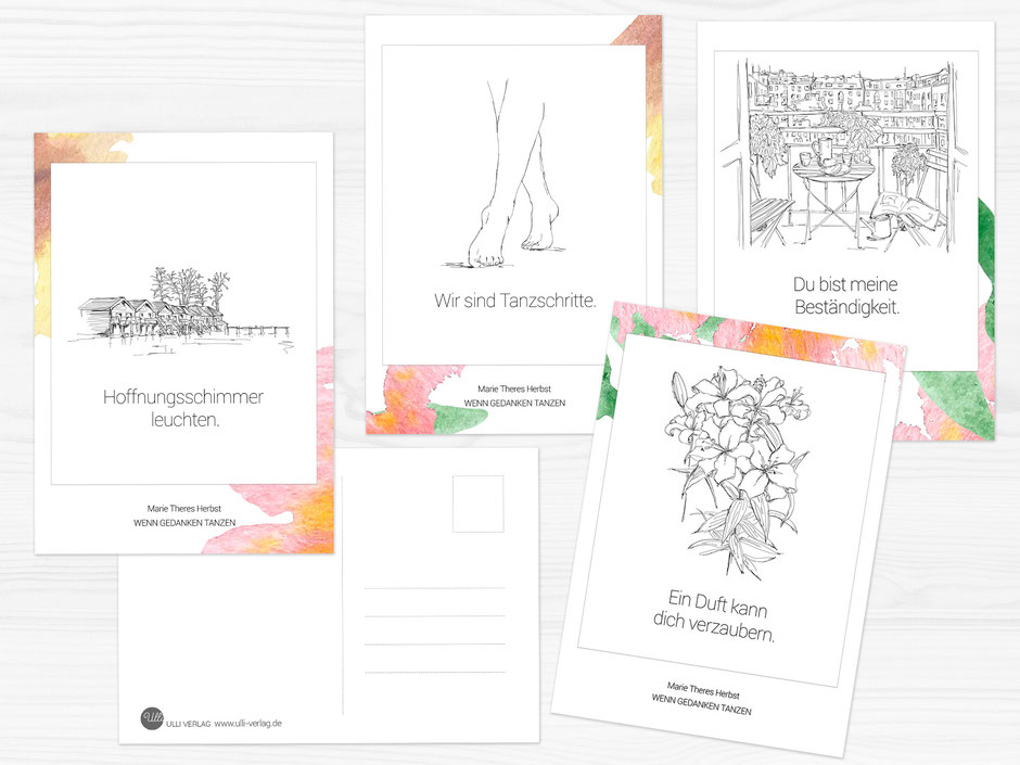 Postkarten Marie Theres Herbst Wenn Gedanken tanzen Poesie  - Ulli Verlag