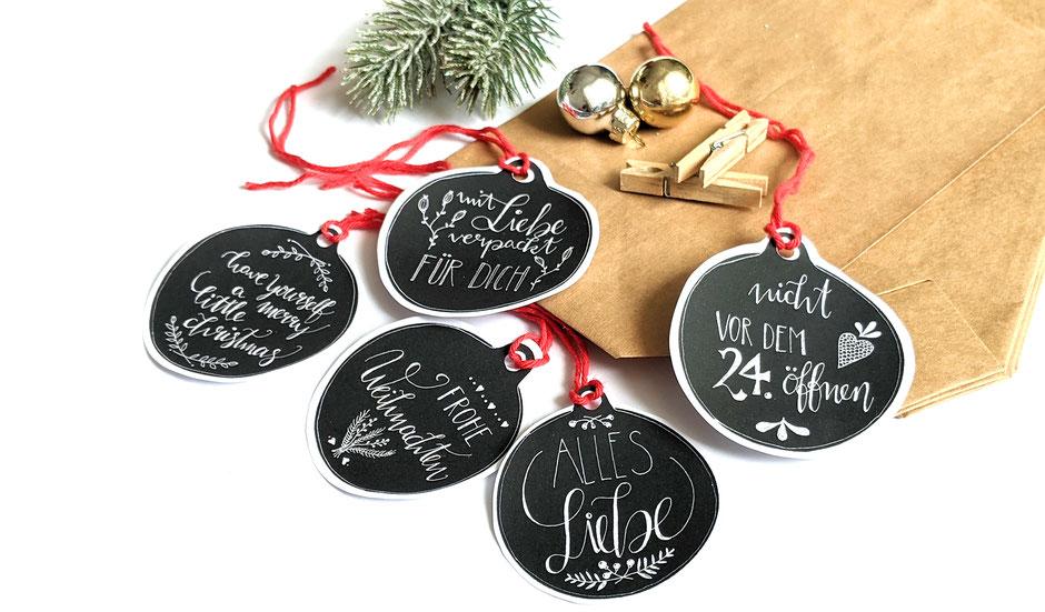 Druckvorlage Geschenkanhänger Weihnachten