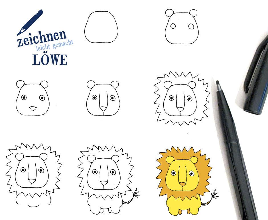 Löwe malen einfach kinder