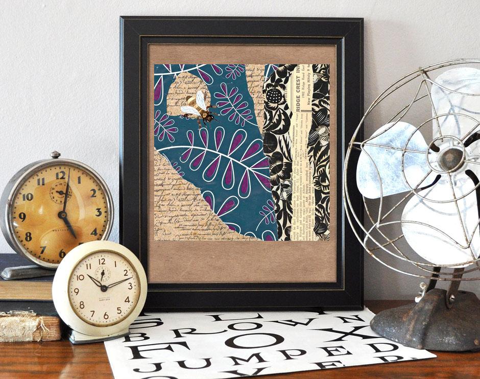 Kunstdruck, Collage, Biene, Ulrike Spang, Ulli Verlag