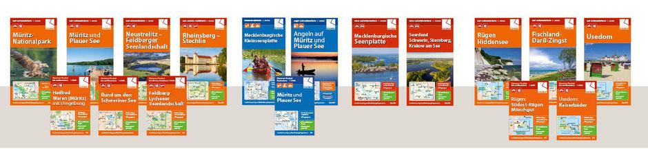 Landkarten für die Mecklenburgische Seenplatte und die Ostseeküste Mecklenburg-Vorpommern im Klemmer-Verlag