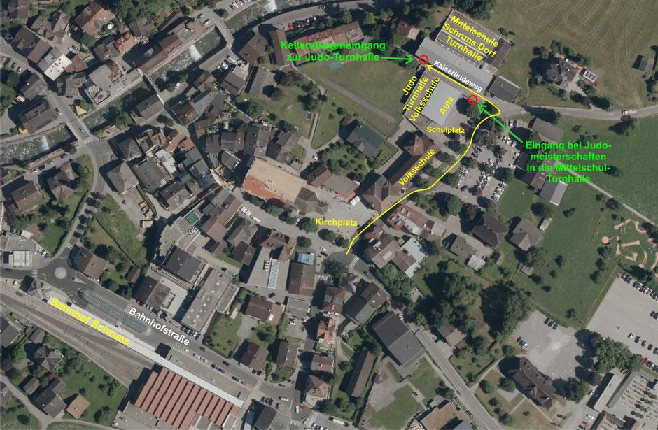Orientierungsplan Judo Turnhalle Volks- und Mittelschule Schruns Dorf