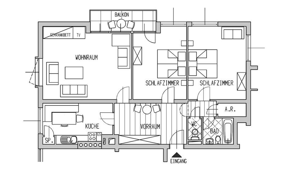 Plan der Stadtwohnung Zell am See