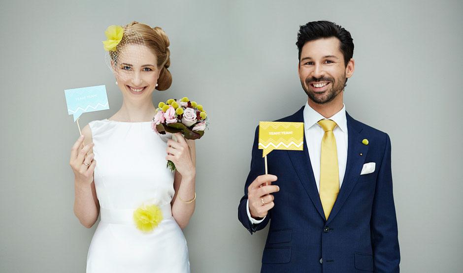 Haarschmuck, Brautgürtel, Deko und Papeterie in Gelb für Hochzeiten.