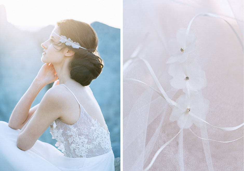 Haarband mit Seidenorganza Blüten. Brauthaarschmuck 2018 - Bohemian Boho 20er Jahre Brauthaarschmuck aus Seide . Kopfschmuck aus Seide in Ivory. Headpiece wedding. Silk hair accessorie for the boho look.