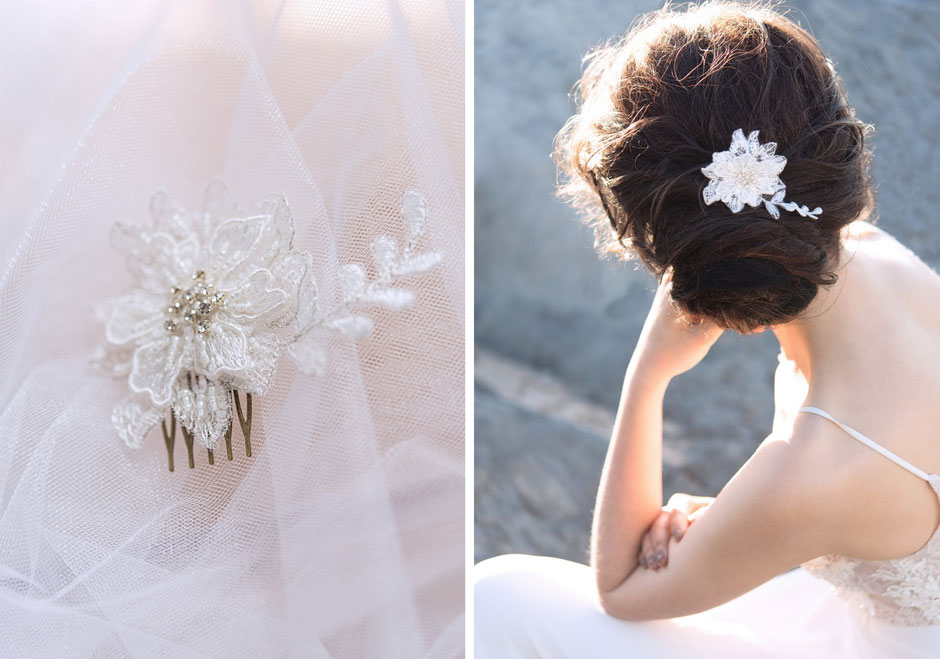 Kopfschmuck 3D Spitze und Strass Steine. 2018/ 2019 Braut  Bohemian Boho 20er Jahre Brauthaarschmuck aus Spitze. Kopfschmuck aus Spitze  in Ivory.Headpiece wedding. Lace hair accessorie for the boho look.