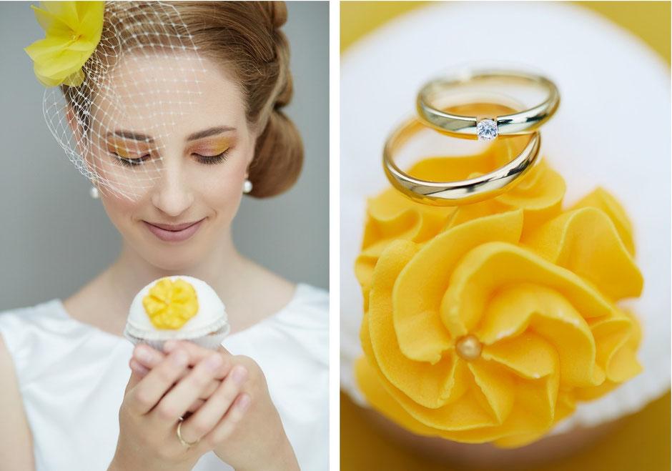Brautaccessoires und Deko in Gelb für moderne oder retro Hochzeiten.