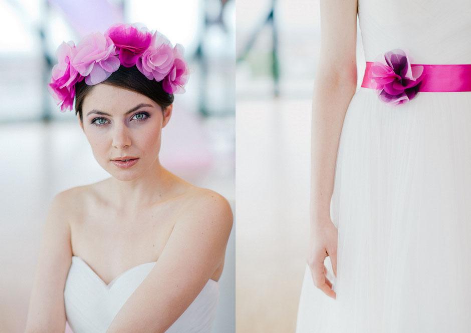Trendy Haarreif - Haarkranz in Rosa, Pink, Violett Mix für die romantische Braut