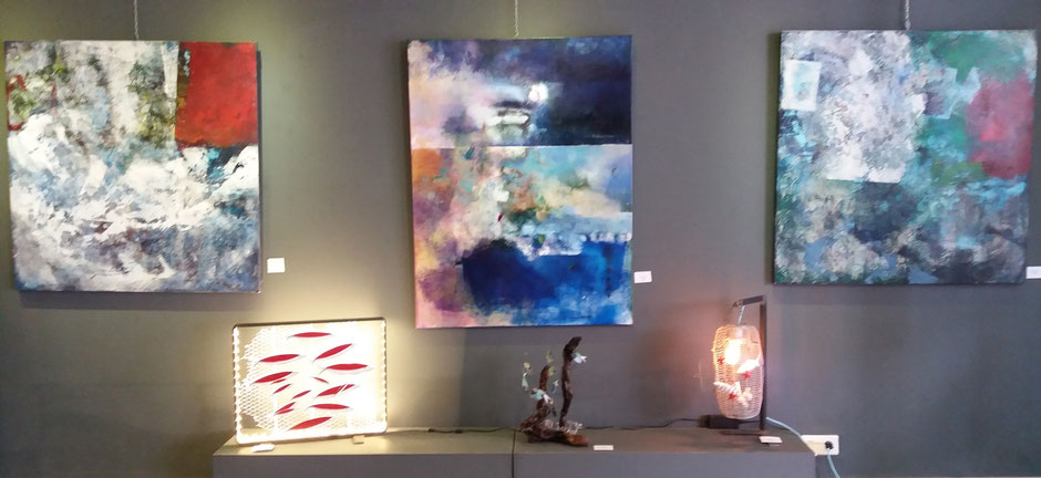 """céramiques de martine royer, luminaires """"tableau poissons"""" et """"nasse poissons pilote"""""""