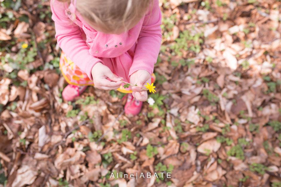 enfant cueillant une fleur