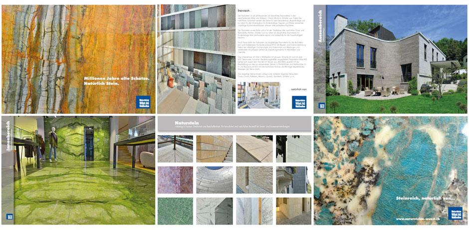 #Grafikdesign #Werbeagentur #Drucksachen, Imageprospekt über Steine und Marmor für Architektur und Raumdesign