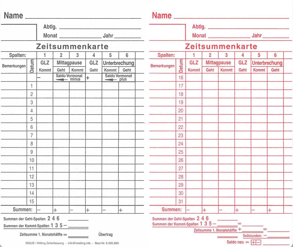 ISGUS Zeitsummenkarte - www.hoelling.info