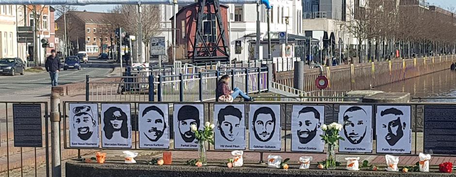 Einer von vielen Gedenkorten am 19. Februar: hier am alten Hafen in Oldenburg