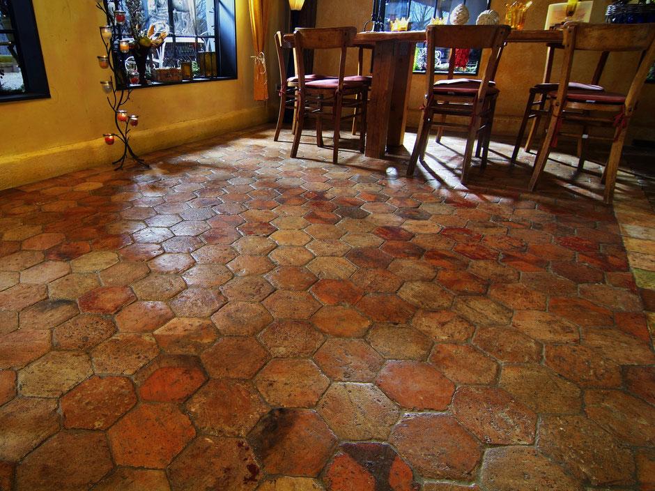 Französisch Terracotta Fliesen Original antik Hexagonal 16cm
