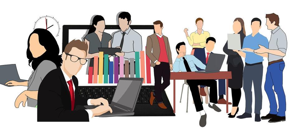 起業家と実業家は会社を設立して急成長するイメージ