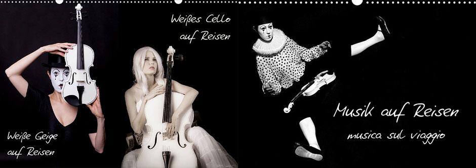 Ravienne Art Model - Kalender-Cover-Fotos - Weiße Geige auf Reisen, Weißes Cello auf Reisen, Musik auf Reisen, musica sul viaggio