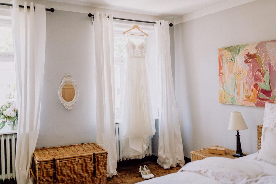 Hotelzimmer der Baut für das Getting Ready im Schlossgut Diel in Rümmelsheim