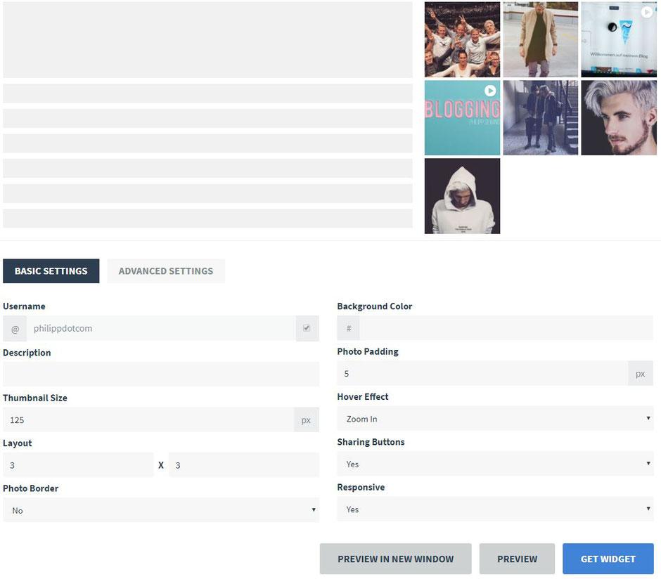 Ein Screenshot von den Einstellungsmöglichkeiten von dem Widget SnapWidget