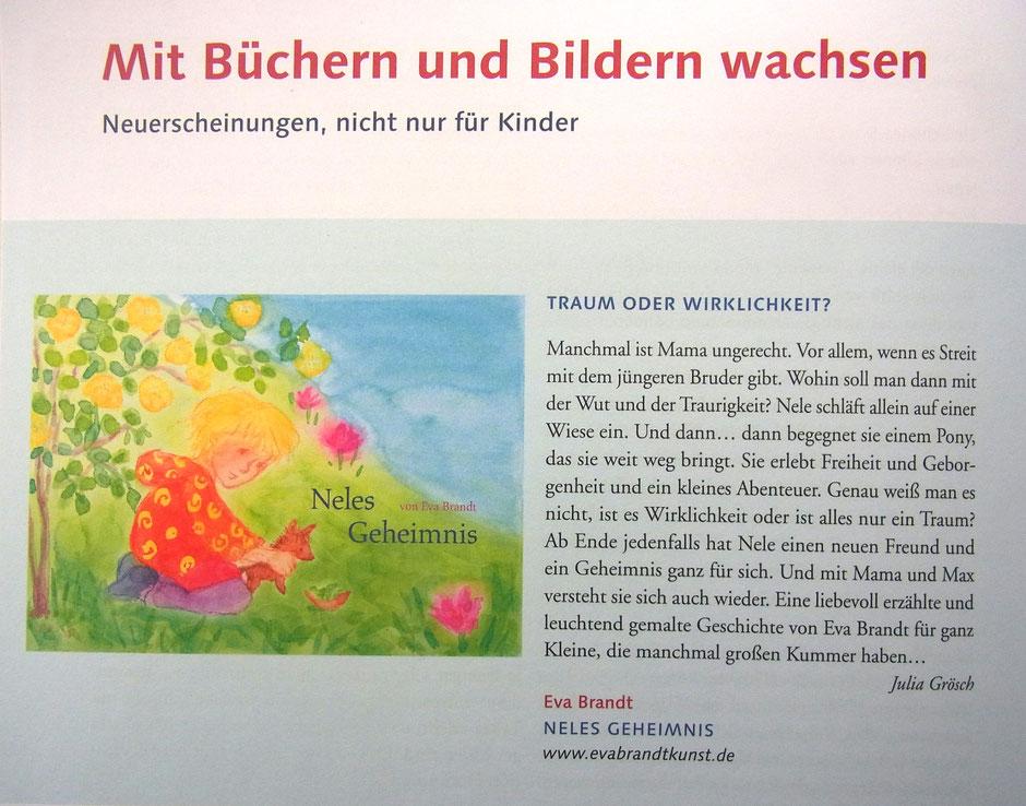 """Neles Geheimnis, Buchbesprechung in """"Mit Kindern Wachsen"""""""