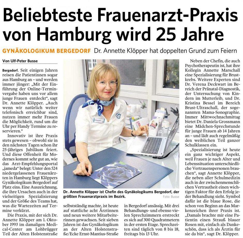 Bergedorfer Zeitung 22.09.2018 -Beliebteste Frauenarzt-Praxis von Hamburg wird 25 Jahre alt.