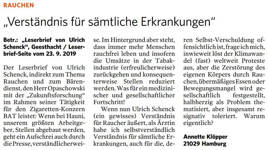 Leserbrief Bergedorfer Zeitung 16.10.2019