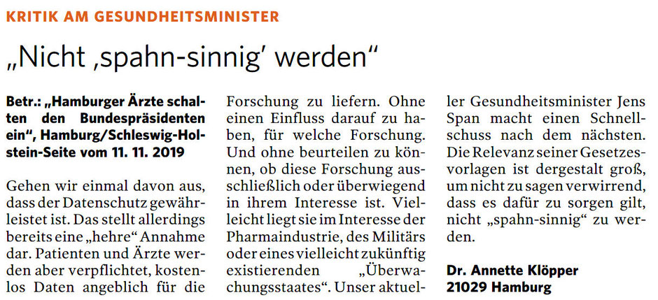 Leserbrief Bergedorfer Zeitung 05.12.2019