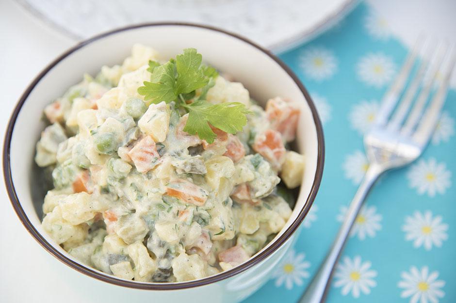 Russischer Salat vegan, Salat Olivier vegan