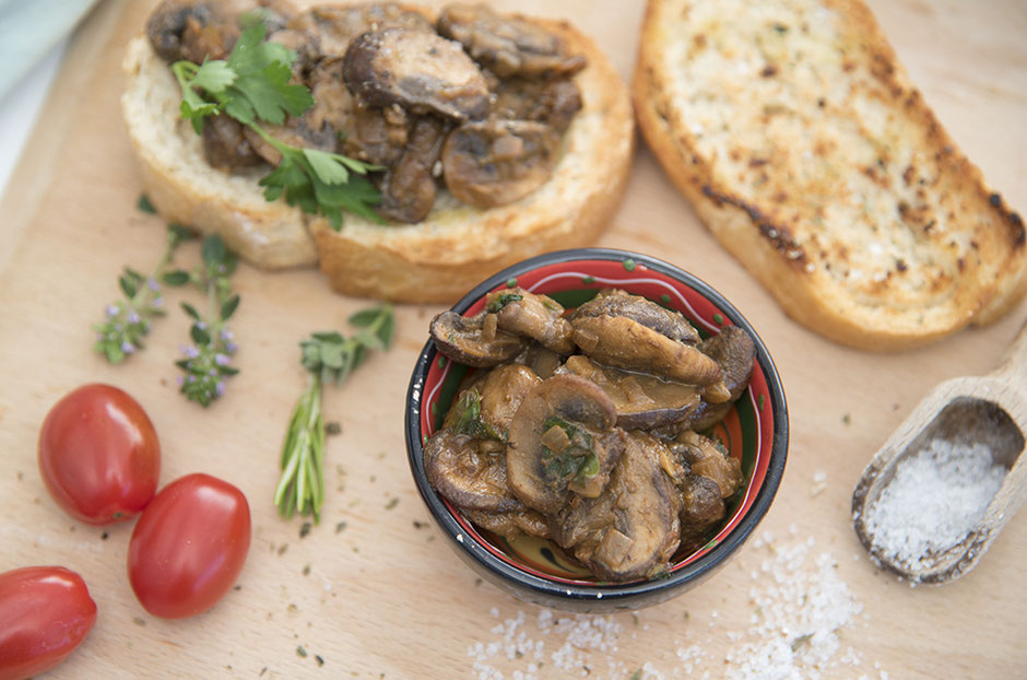 Bruschetta mit Pilzen vegan