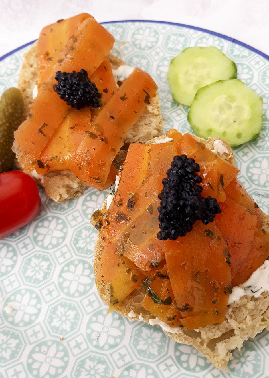 Veganer Lachs, Karottenlachs vegan veganer Kaviar