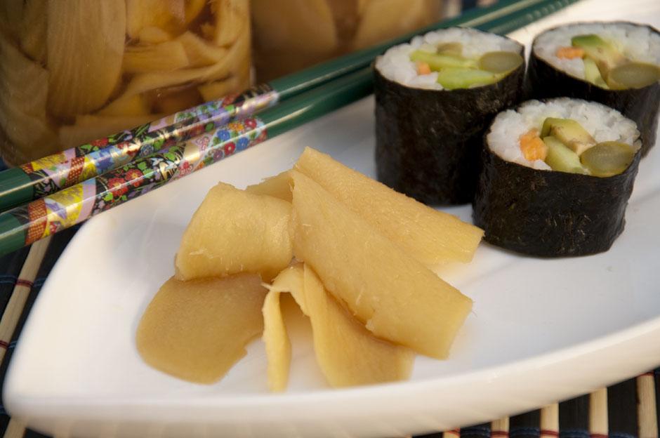 Eingelegter Ingwer für Sushi,  Gari , vegan
