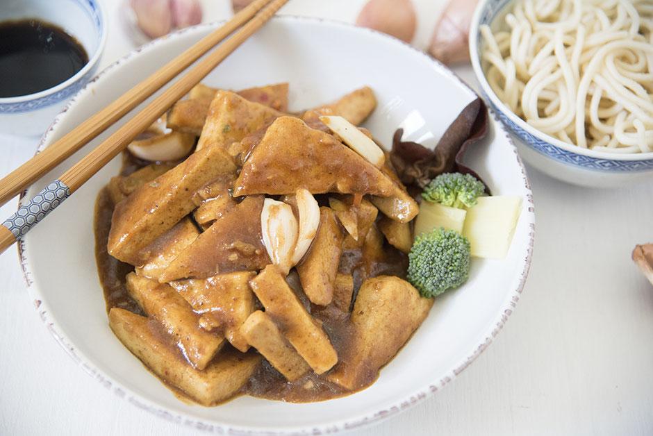 Glasierter Tofu vegan