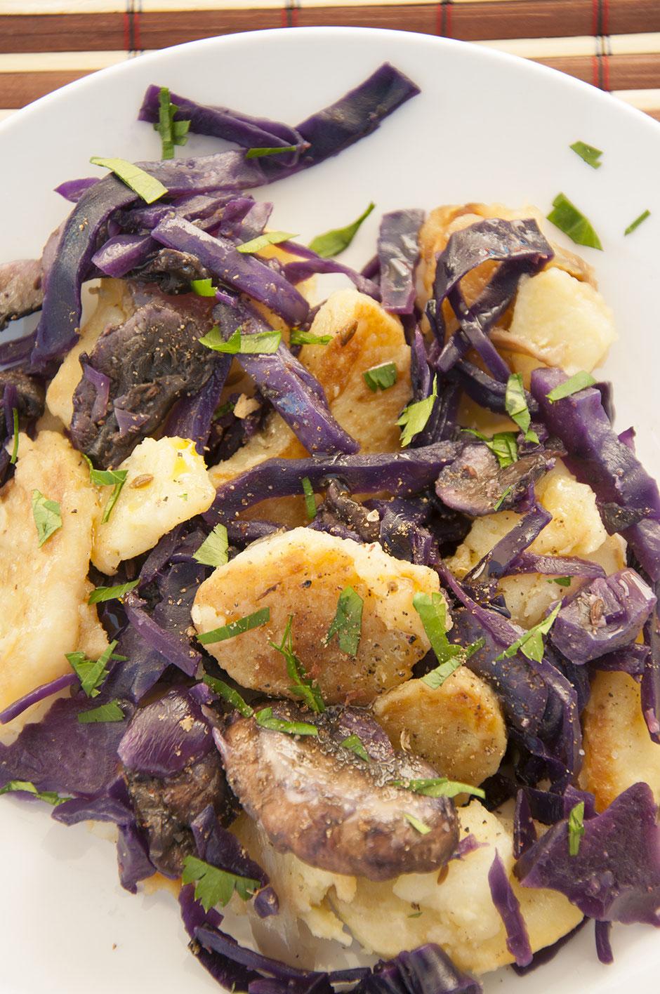 Rotkohl-Bratkartoffeln