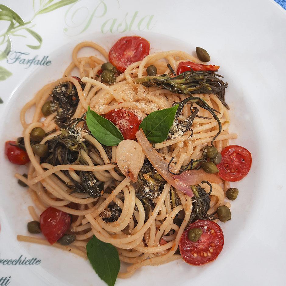 Spaghetti mit Mönchsbart vegan